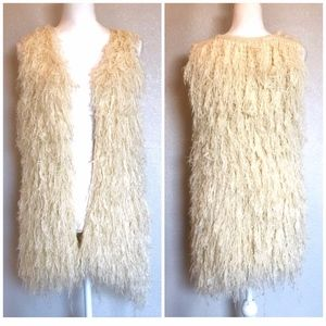 NWOT {FREEWAY} Anthropologie Boho Shag Fringe Vest